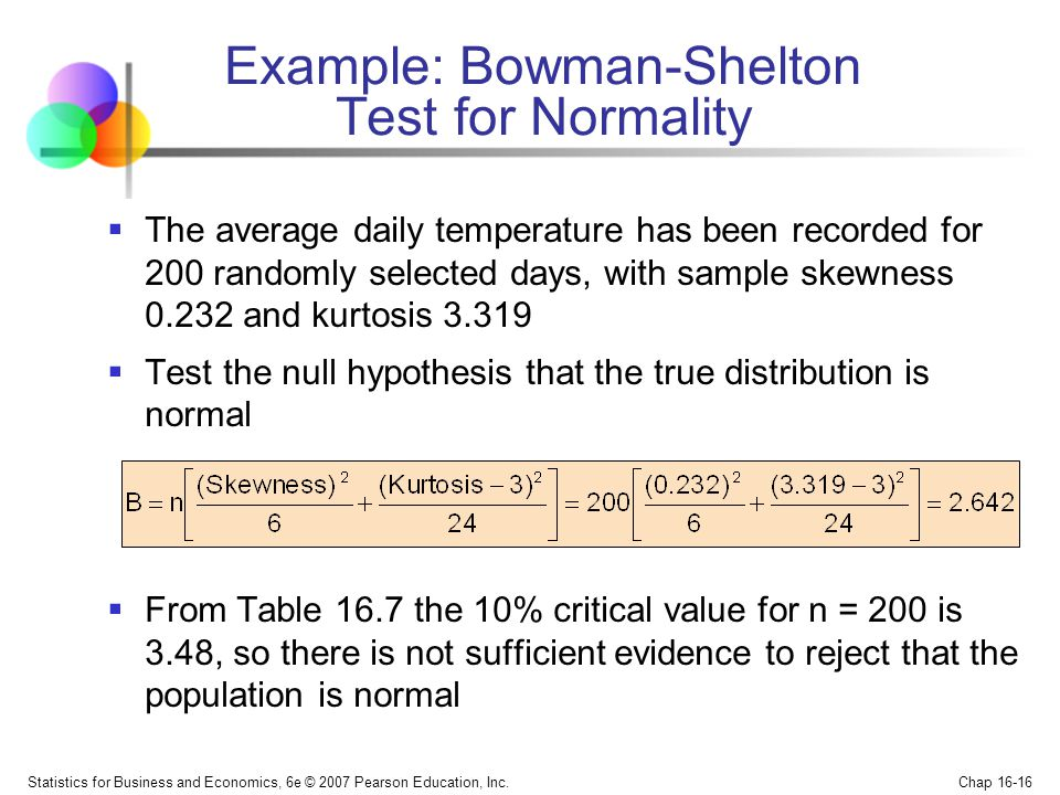 Example: Bowman-Shelton Test for Normality