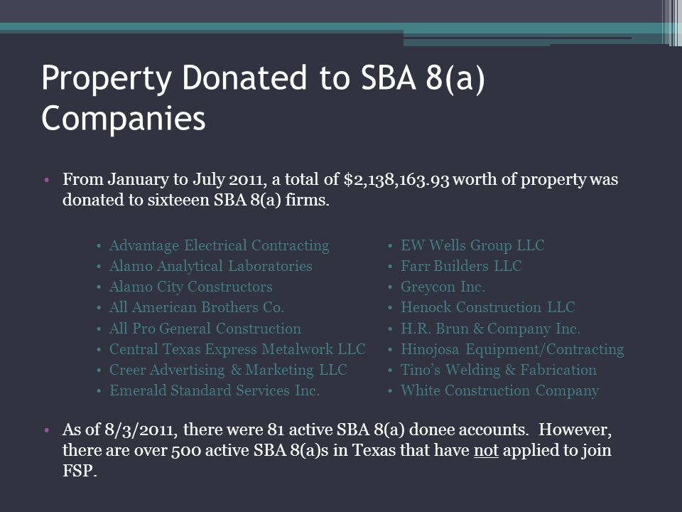 Property Donated to SBA 8(a) Companies