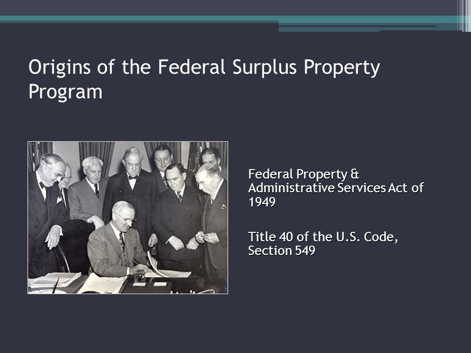 Origins of the Federal Surplus Property Program