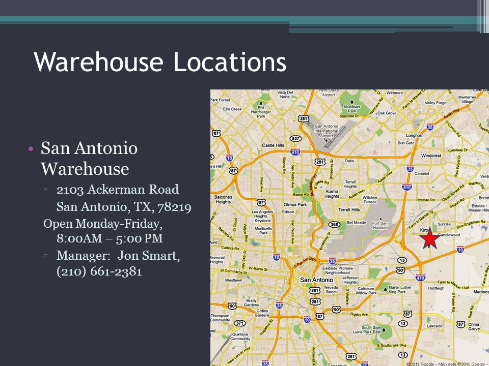 Warehouse Locations San Antonio Warehouse 2103 Ackerman Road