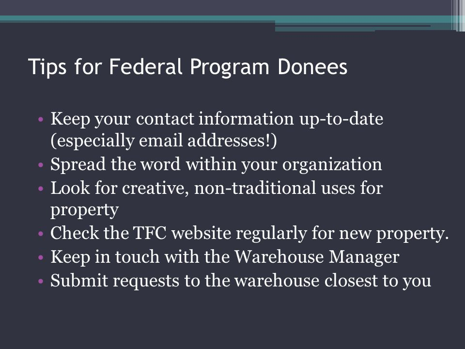 Tips for Federal Program Donees