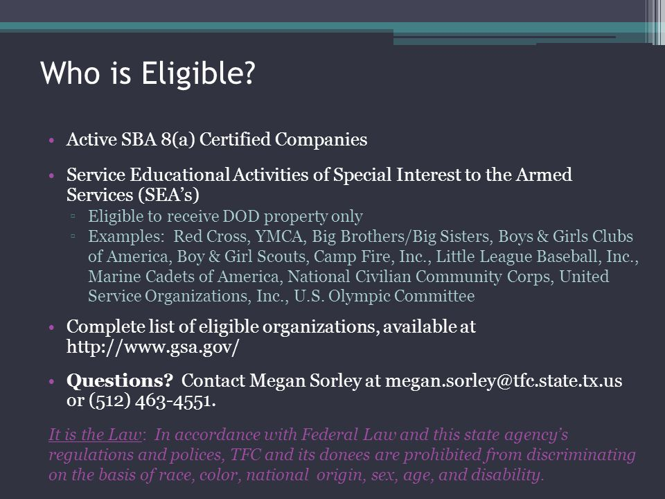 Who is Eligible Active SBA 8(a) Certified Companies