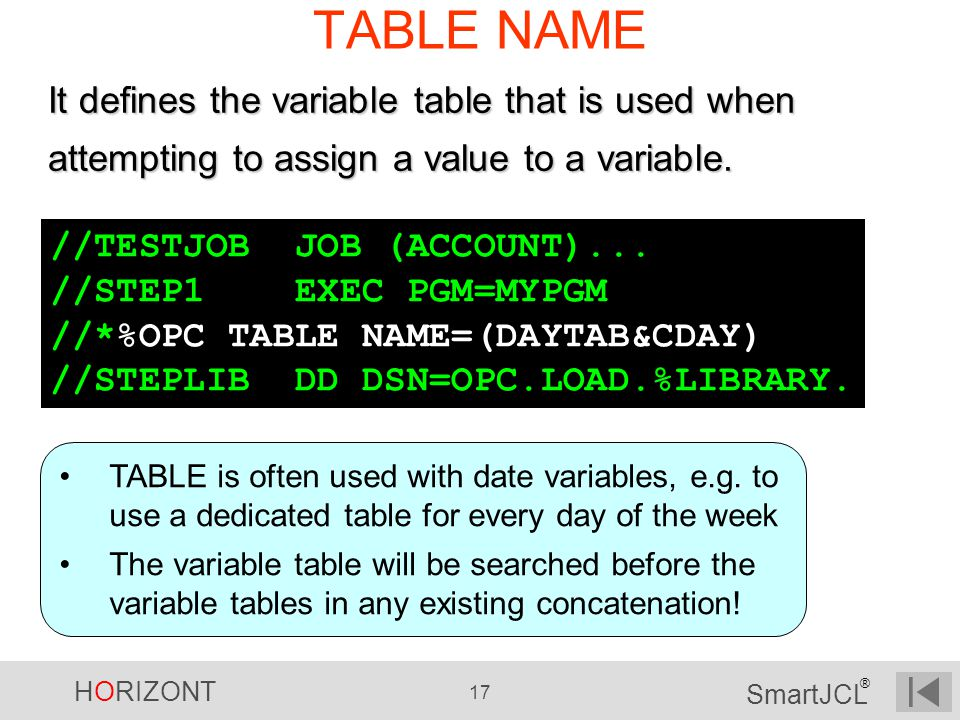TABLE NAME It defines the variable table that is used when