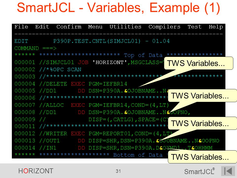 SmartJCL - Variables, Example (1)