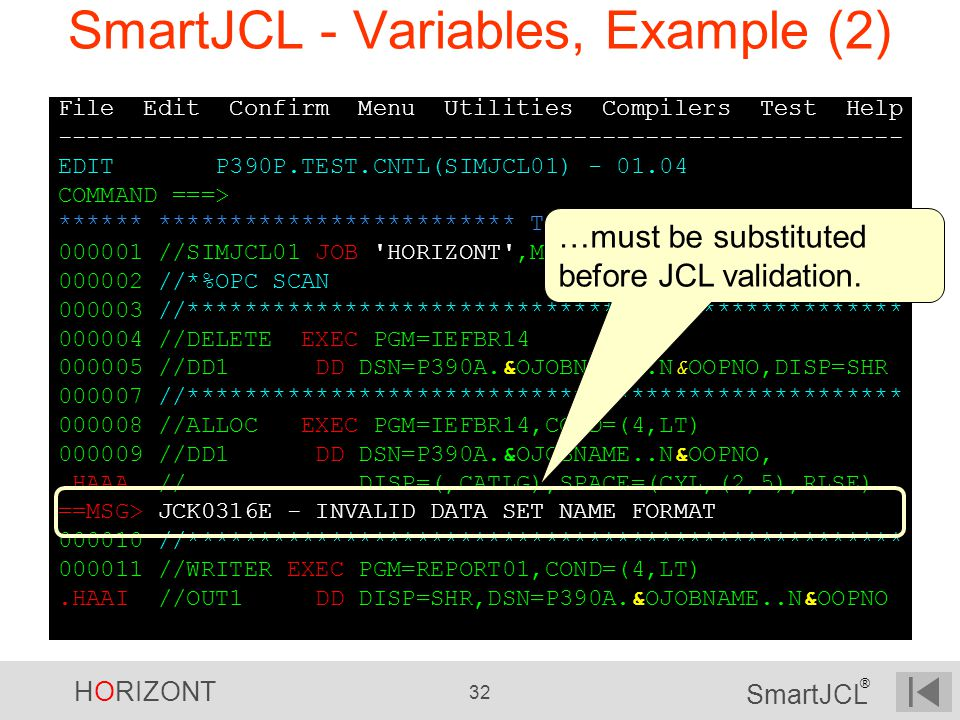 SmartJCL - Variables, Example (2)