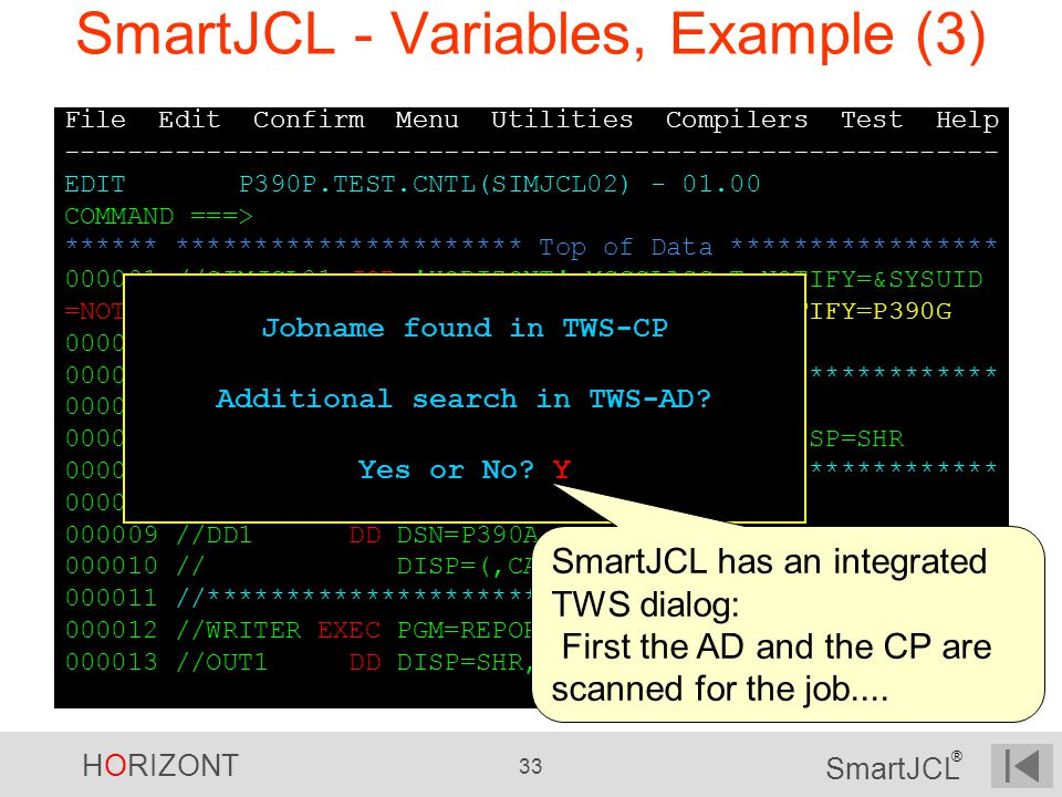SmartJCL - Variables, Example (3)