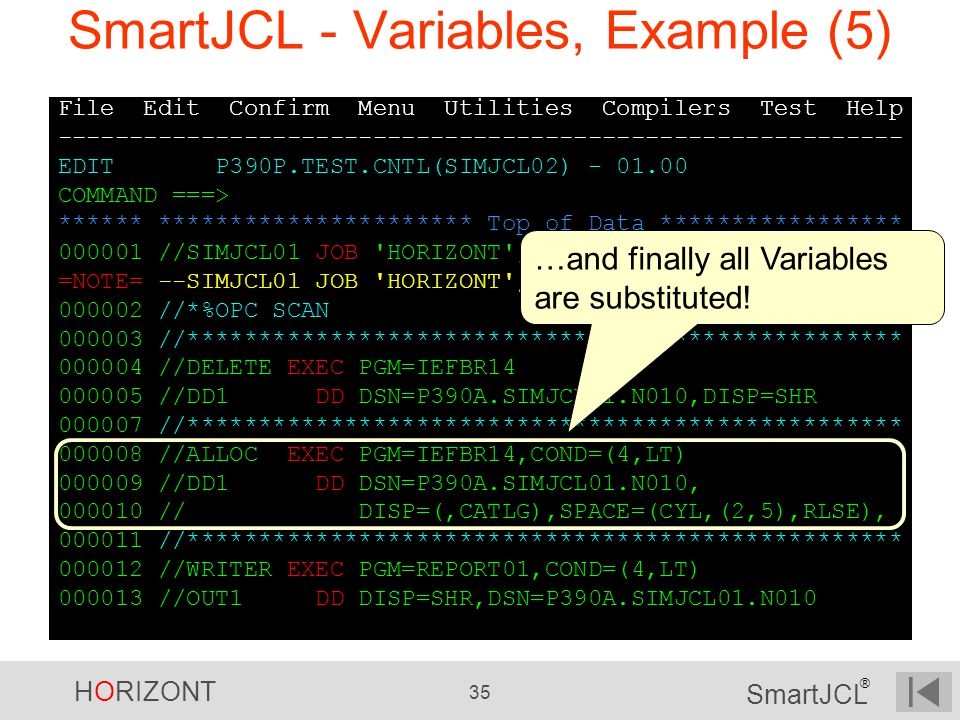SmartJCL - Variables, Example (5)