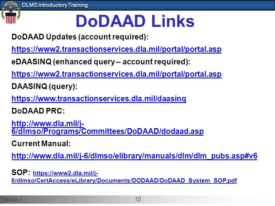 DoDAAD Links DoDAAD Updates (account required):