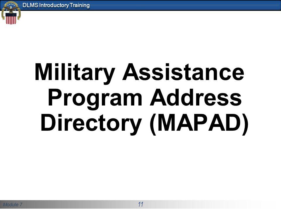Military Assistance Program Address Directory (MAPAD)