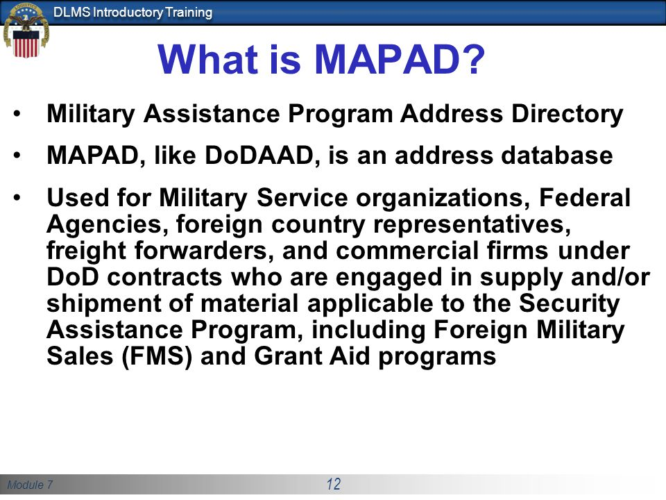What is MAPAD Military Assistance Program Address Directory