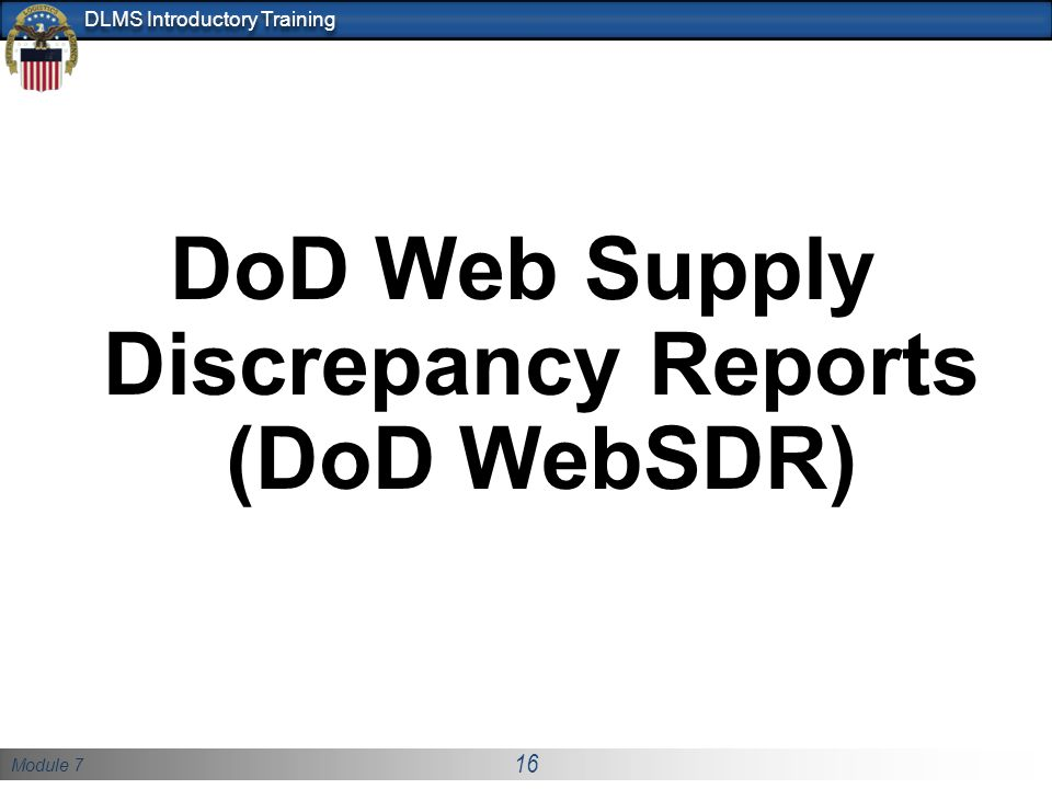 DoD Web Supply Discrepancy Reports (DoD WebSDR)