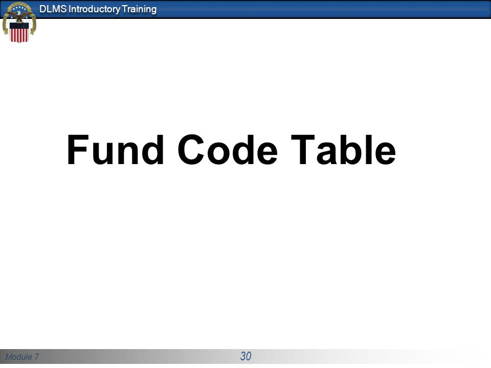 Fund Code Table