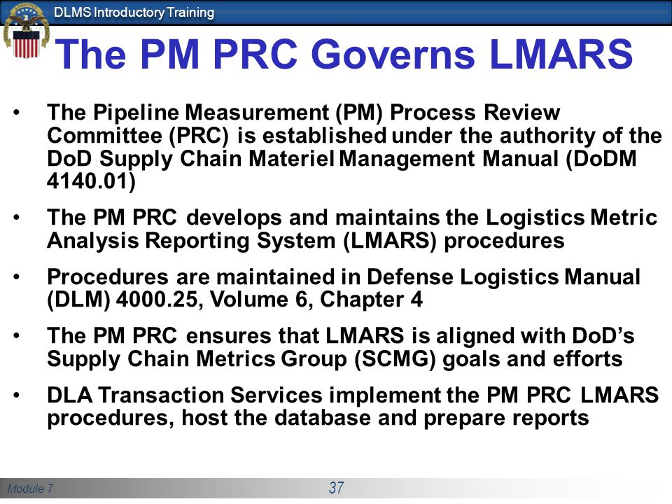 The PM PRC Governs LMARS