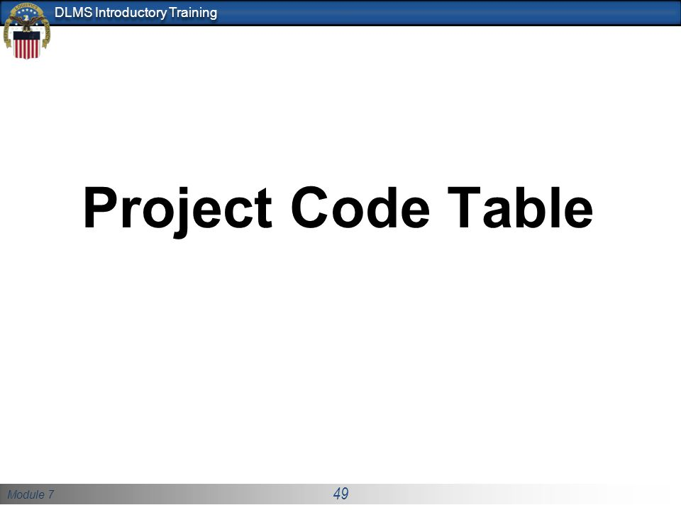 Project Code Table