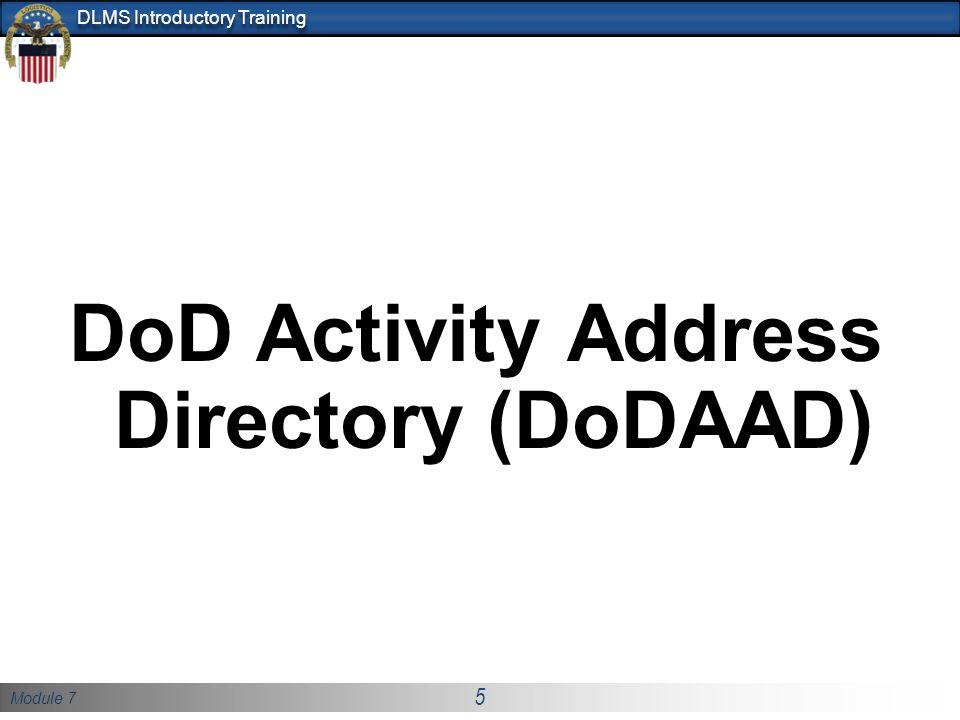 DoD Activity Address Directory (DoDAAD)