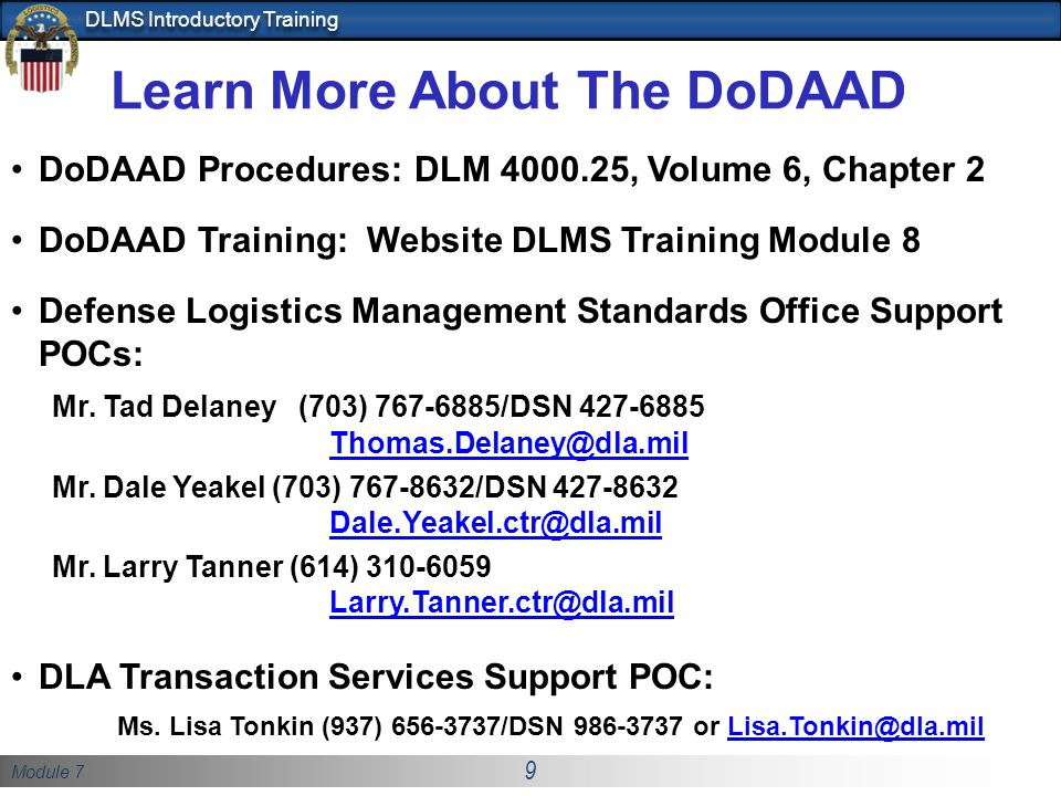 Learn More About The DoDAAD