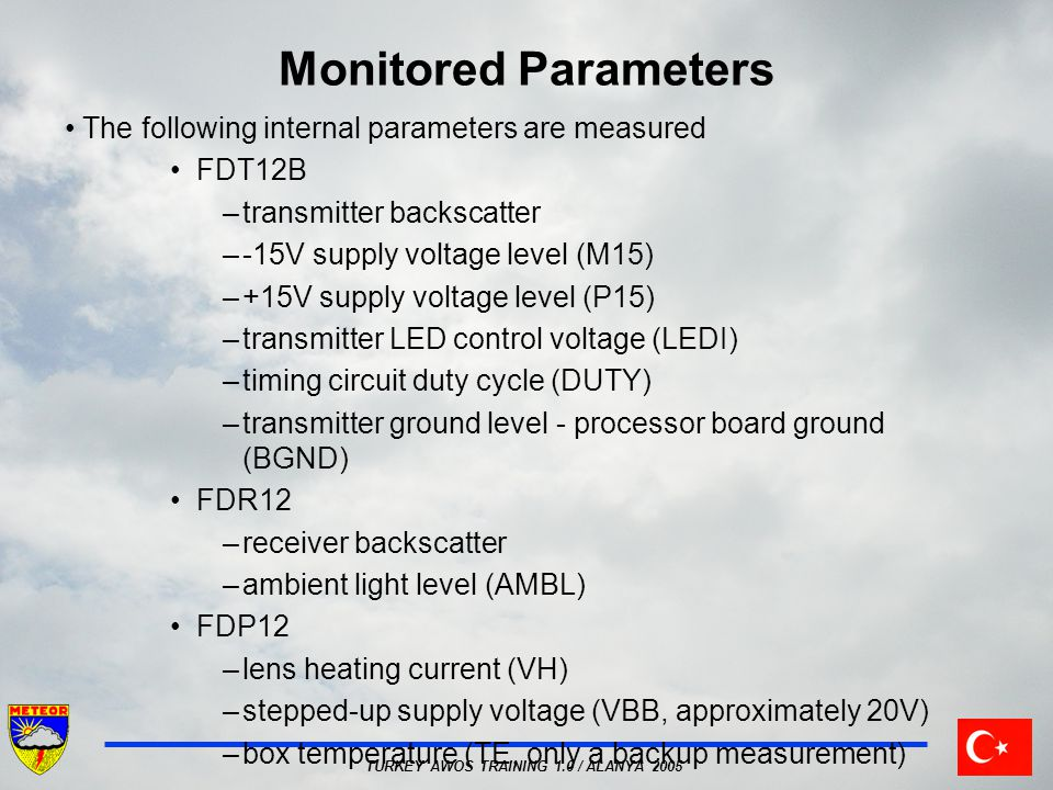 Monitored Parameters The following internal parameters are measured