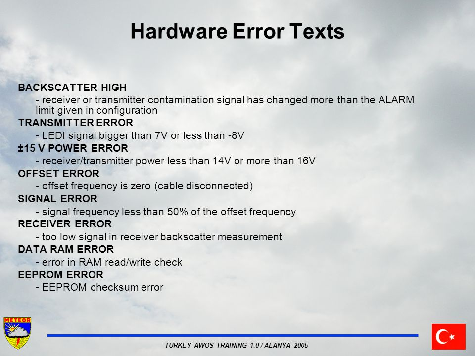 Hardware Error Texts BACKSCATTER HIGH