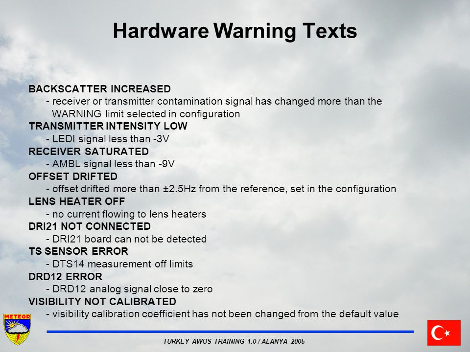 Hardware Warning Texts