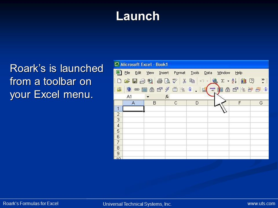 Launch Roark's is launched from a toolbar on your Excel menu.