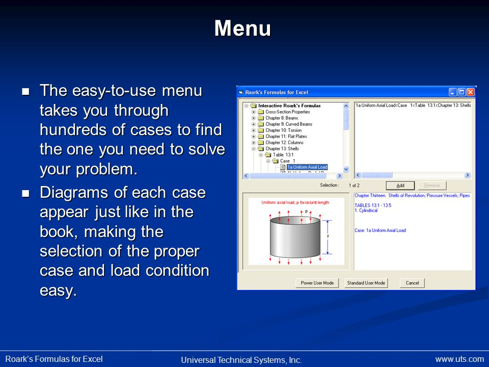 Menu The easy-to-use menu takes you through hundreds of cases to find the one you need to solve your problem.