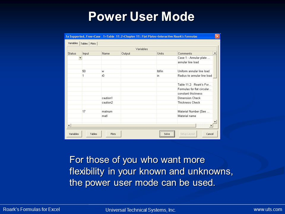 Power User Mode For those of you who want more flexibility in your known and unknowns, the power user mode can be used.
