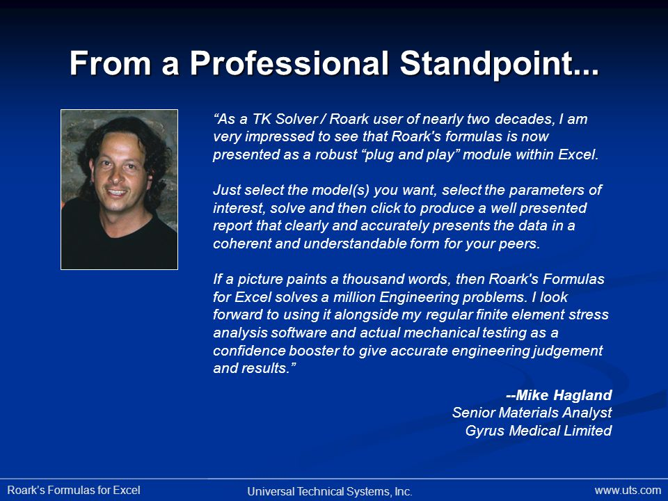From a Professional Standpoint...