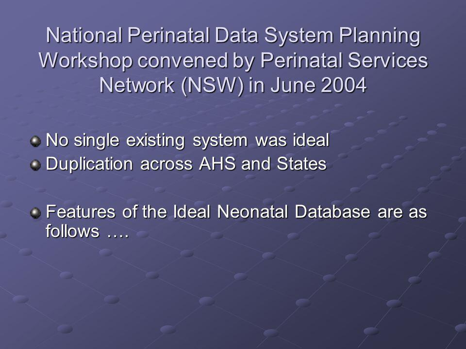 National Perinatal Data System Planning Workshop convened by Perinatal Services Network (NSW) in June 2004