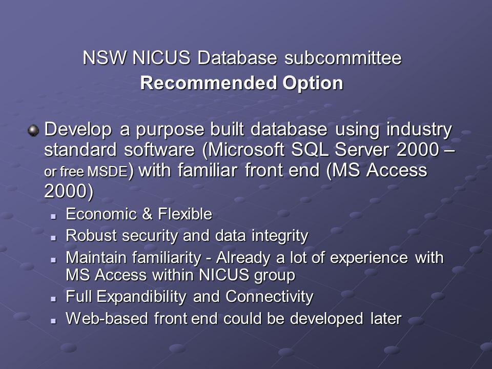 NSW NICUS Database subcommittee