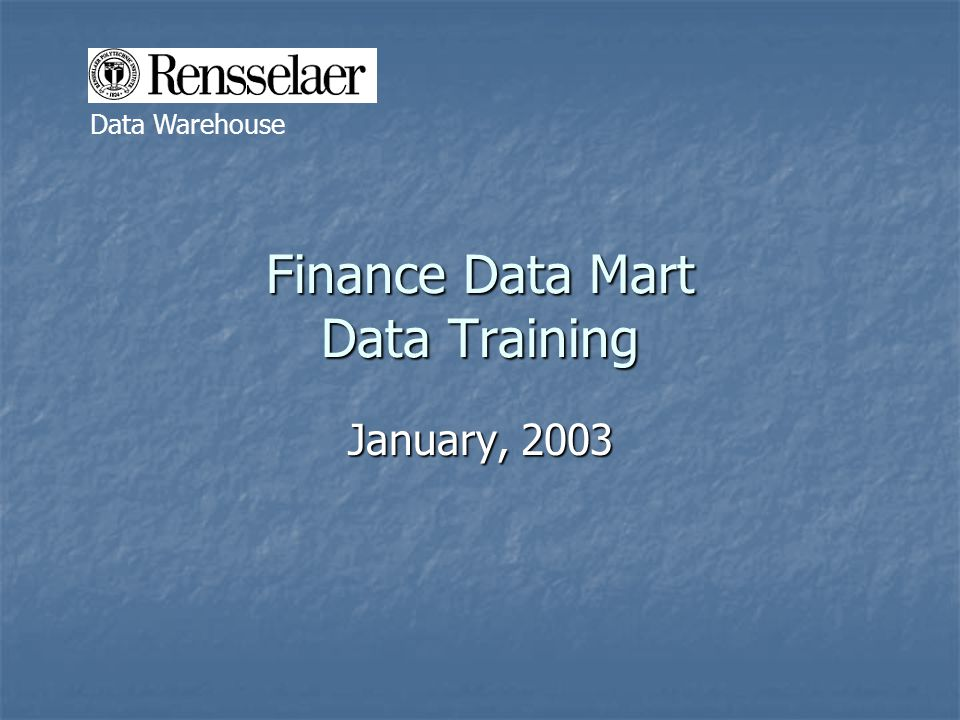 Finance Data Mart Data Training