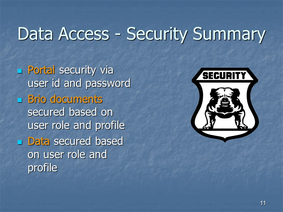 Data Access - Security Summary