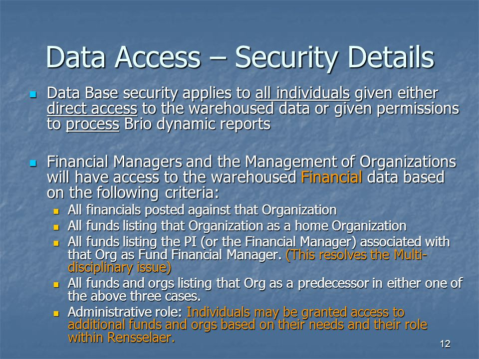 Data Access – Security Details