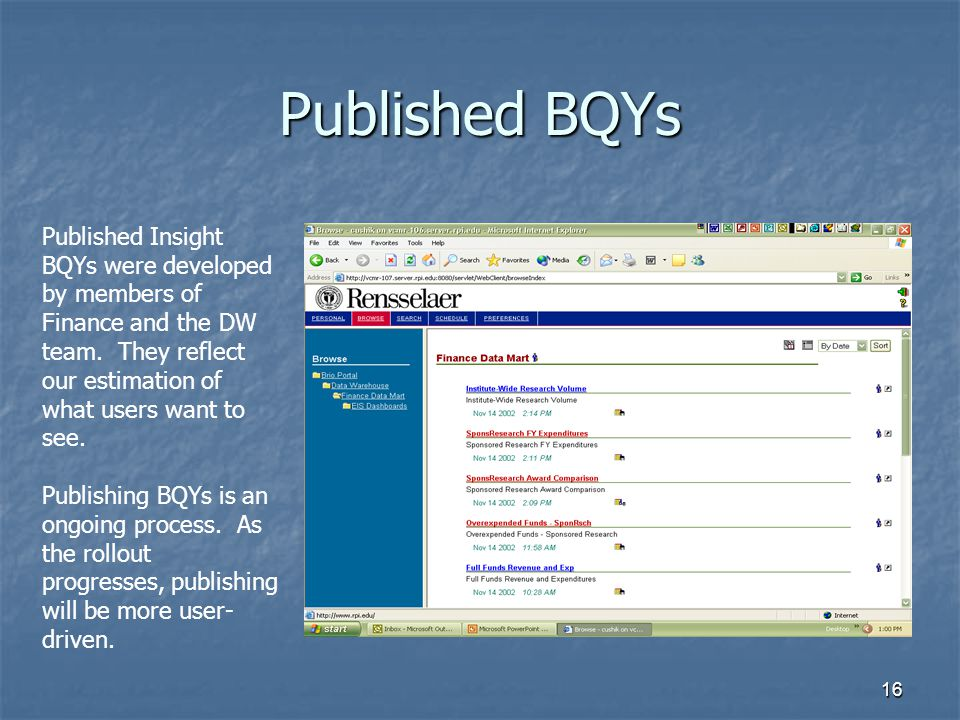 Published BQYs Published Insight BQYs were developed by members of Finance and the DW team. They reflect our estimation of what users want to see.