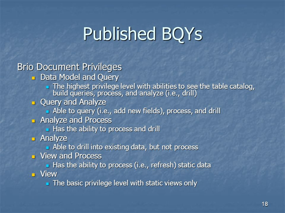 Published BQYs Brio Document Privileges Data Model and Query