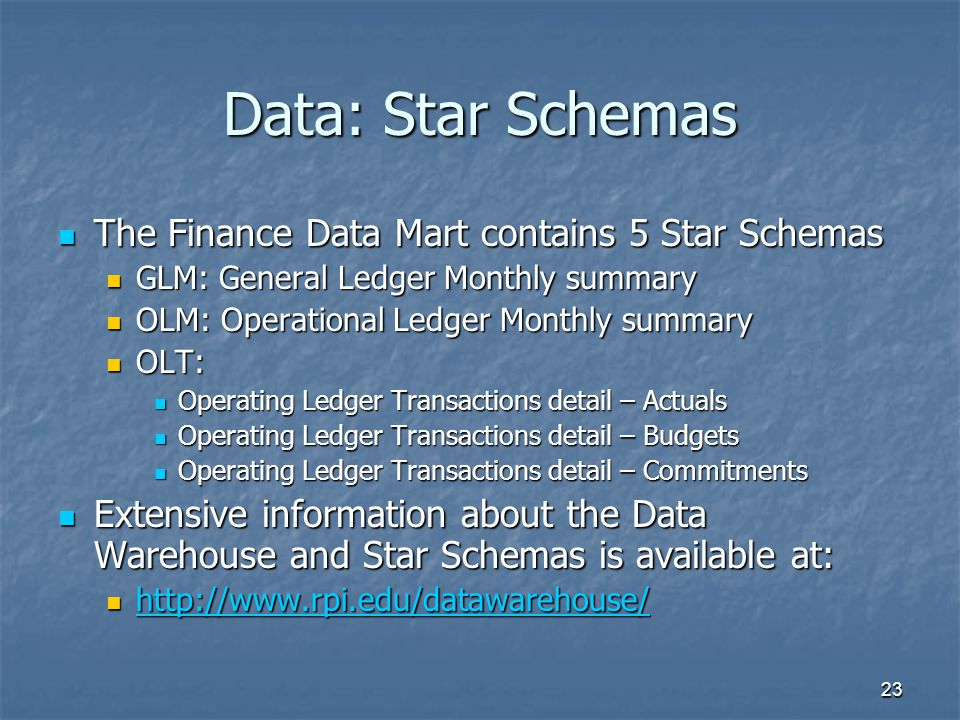 Data: Star Schemas The Finance Data Mart contains 5 Star Schemas
