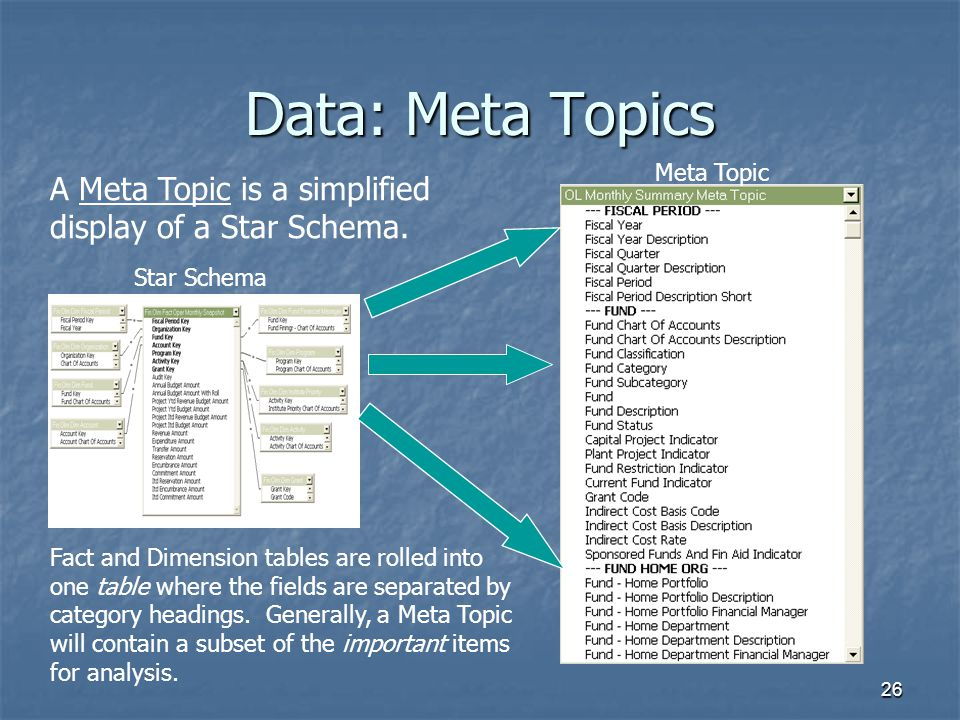 Data: Meta Topics Meta Topic. A Meta Topic is a simplified display of a Star Schema. Star Schema.