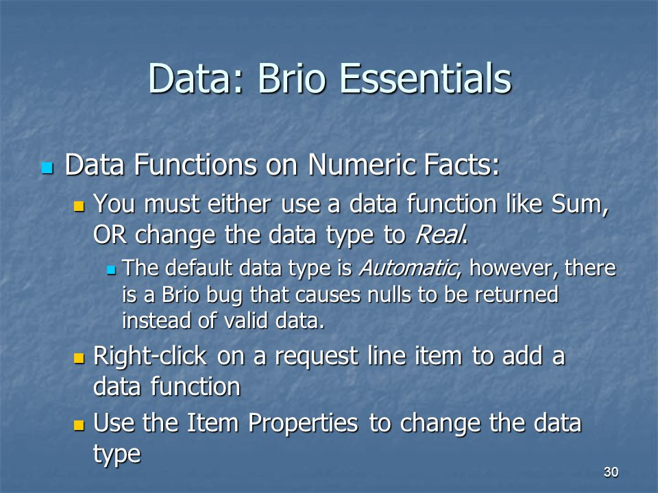 Data: Brio Essentials Data Functions on Numeric Facts: