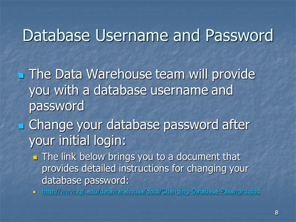 Database Username and Password