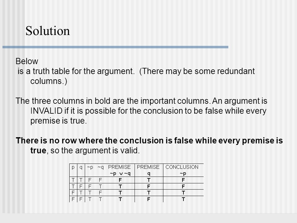 Solution Below. is a truth table for the argument. (There may be some redundant columns.)