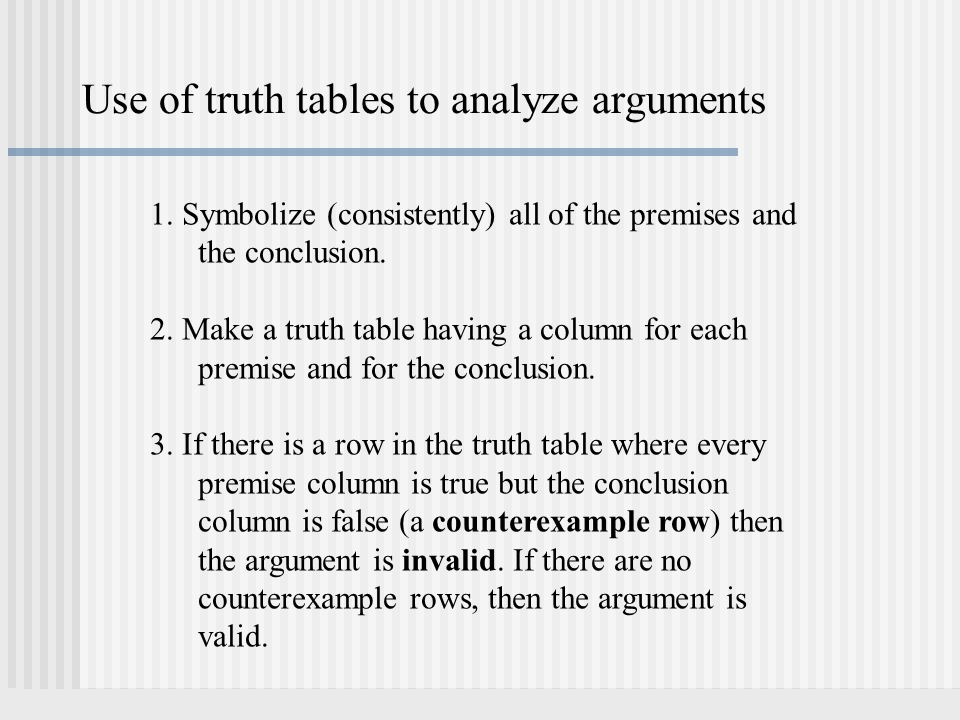 Use of truth tables to analyze arguments
