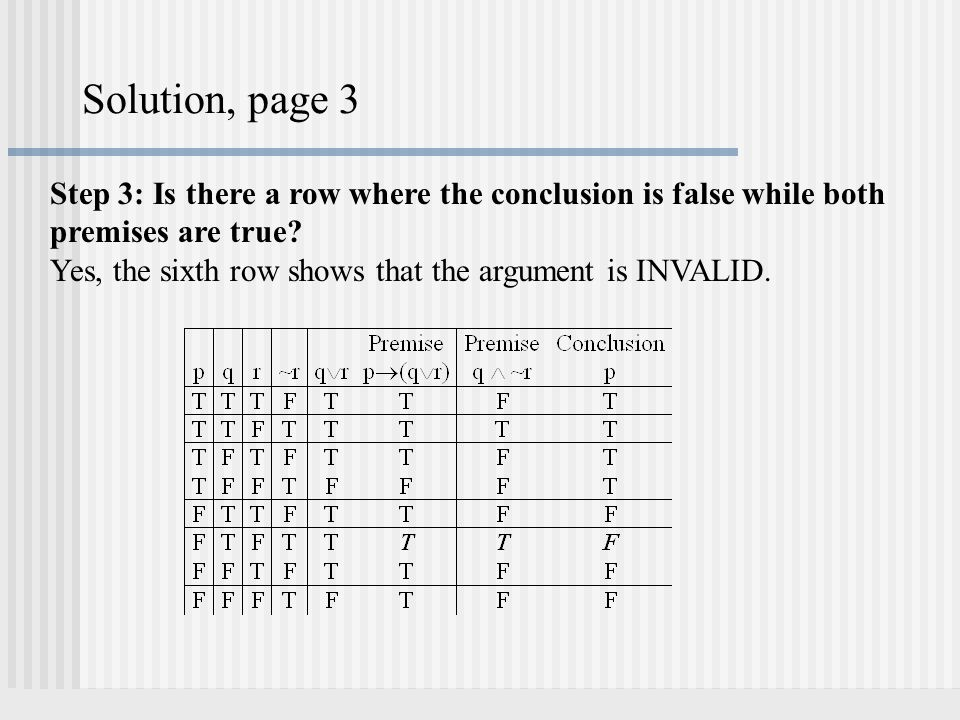 Solution, page 3 Step 3: Is there a row where the conclusion is false while both premises are true
