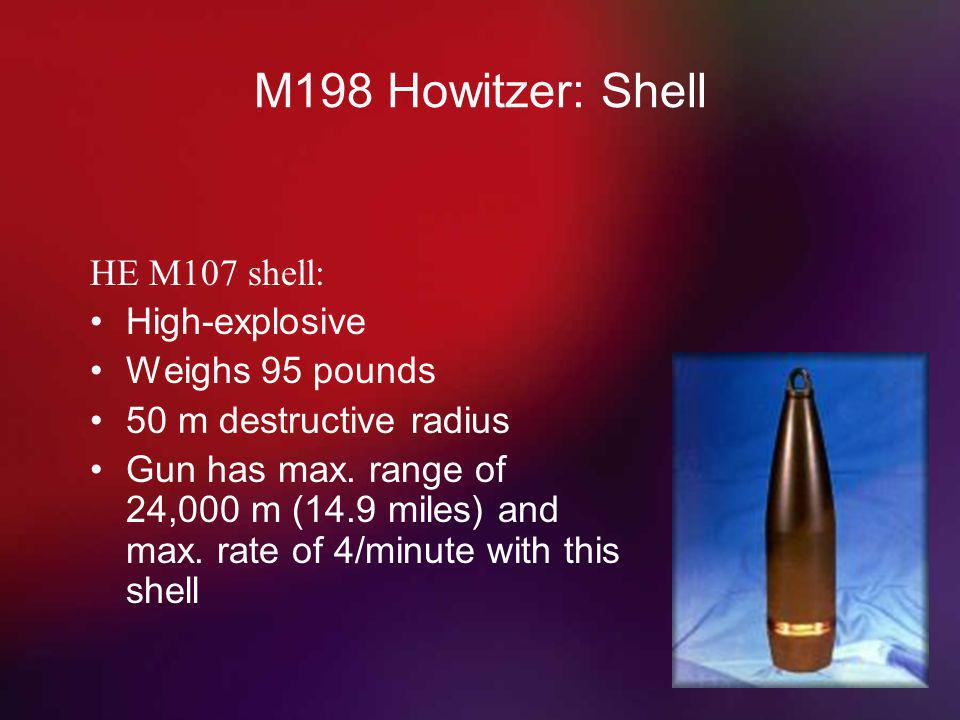 M198 Howitzer: Shell HE M107 shell: High-explosive Weighs 95 pounds