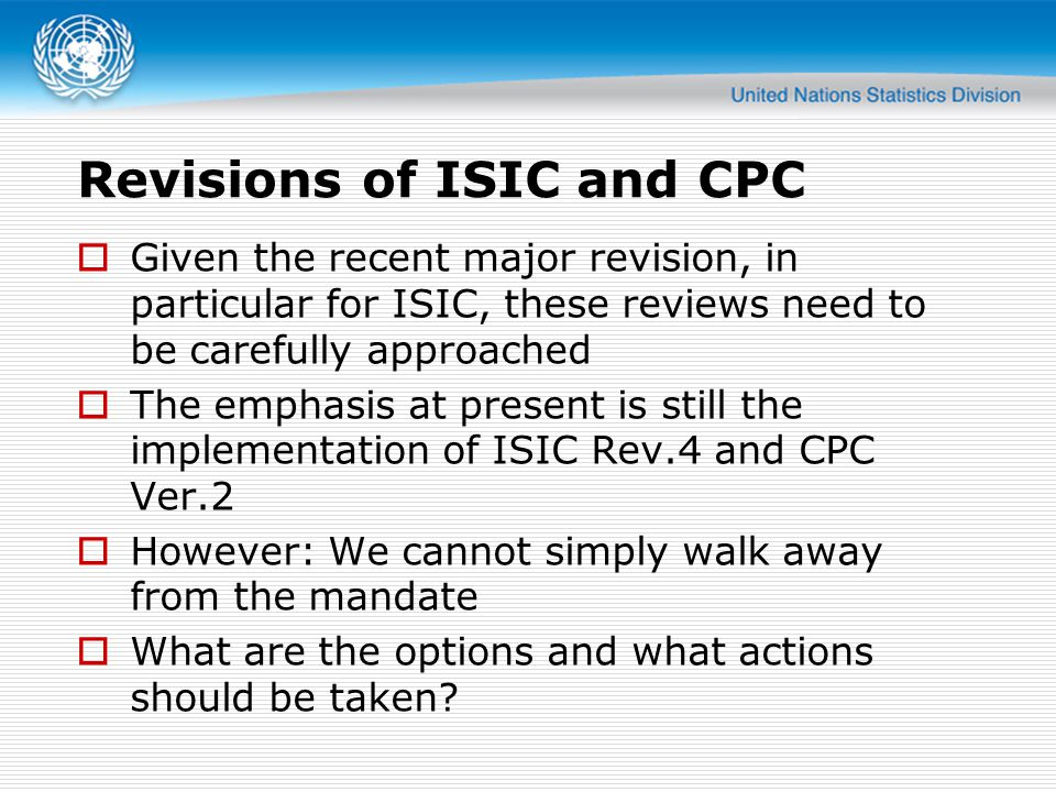 Revisions of ISIC and CPC