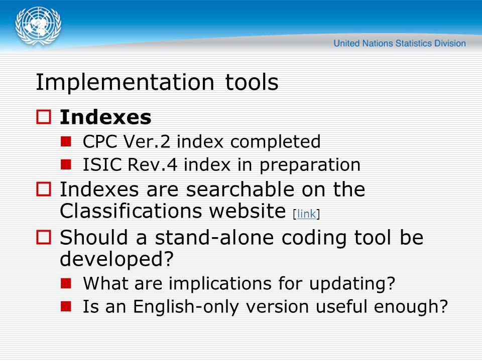 Implementation tools Indexes