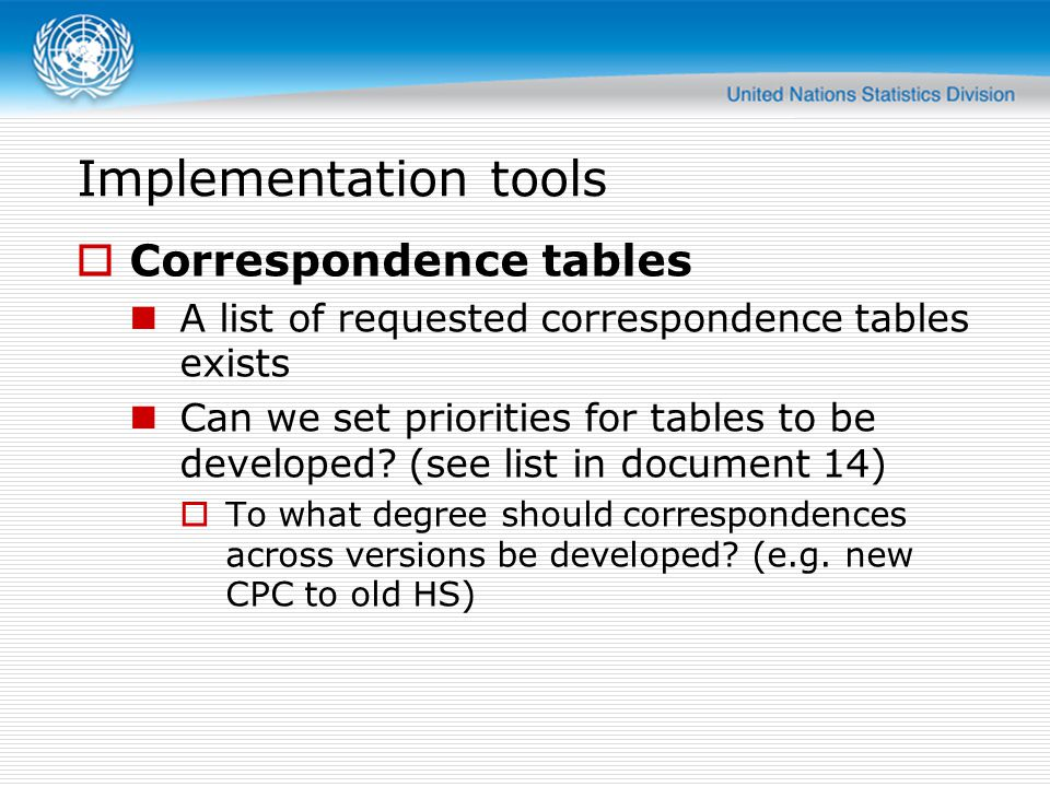 Implementation tools Correspondence tables