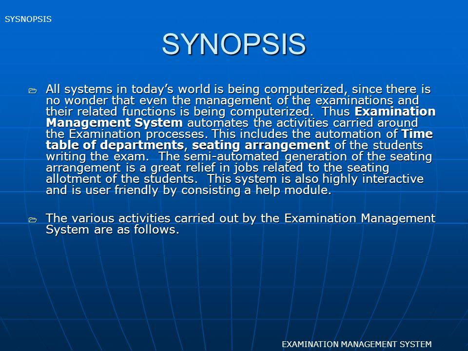SYSNOPSIS SYNOPSIS.