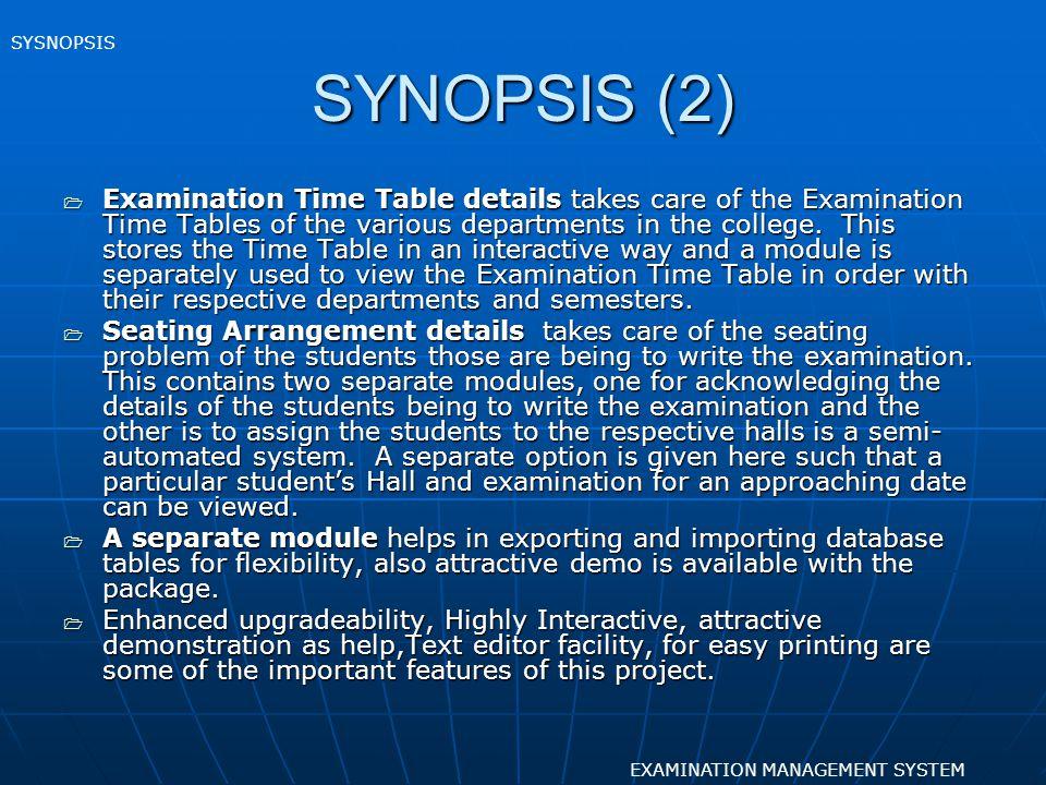 SYSNOPSIS SYNOPSIS (2)