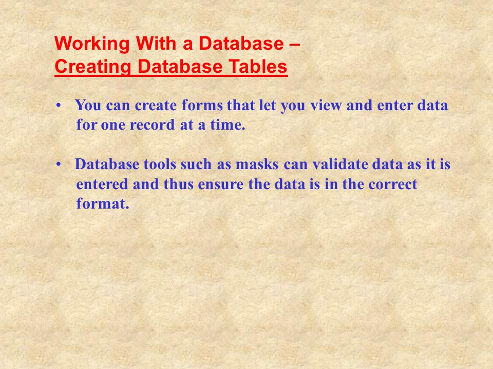 Working With a Database – Creating Database Tables