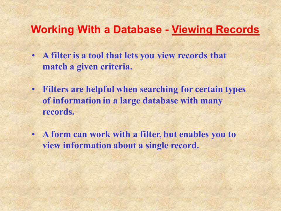 Working With a Database - Viewing Records