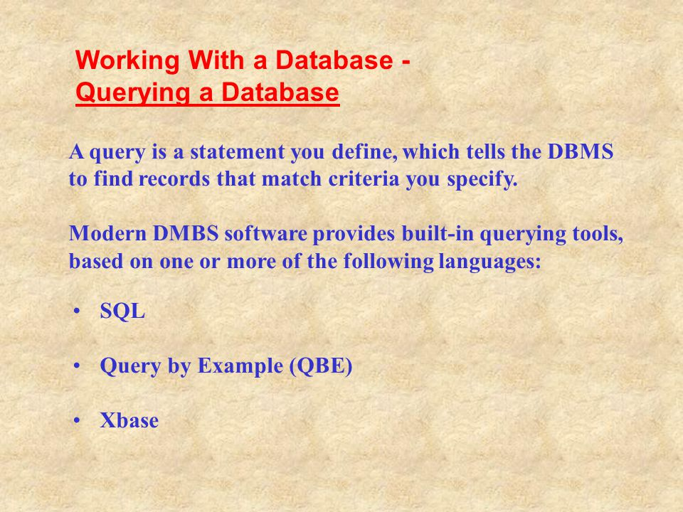 Working With a Database - Querying a Database